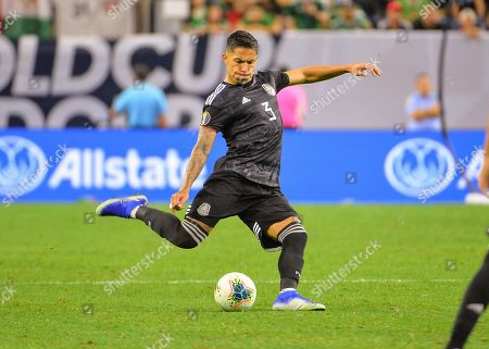 Mexico defender, Carlos Salcedo (3), loads up to kick the ball during the CONCACAF Gold Cup, quarter final match between Mexico and Costa Rica, at NRG Stadium in Houston, TX. Mandatory Credit: Kevin Langley/Sports South Media/CSM