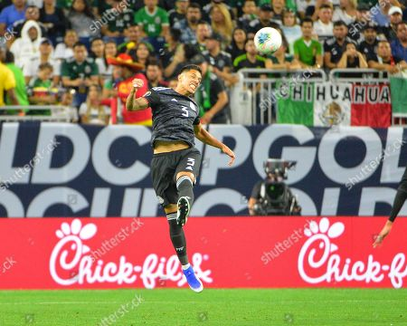 Mexico defender, Carlos Salcedo (3), heads the ball during the CONCACAF Gold Cup, quarter final match between Mexico and Costa Rica, at NRG Stadium in Houston, TX. Mandatory Credit: Kevin Langley/Sports South Media/CSM