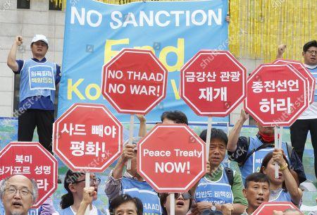 Pro Anti Trump protests Seoul Stock Photos (Exclusive