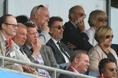 Actor Robert Powell watching from the pavilion during the ICC Cricket World Cup 2019 match between England and India at Edgbaston, Birmingham