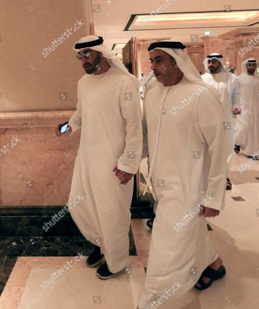 His Highness Sheikh Mohammed bin Zayed bin Sultan Al Nahyan(L), the Crown Prince of Abu Dhabi and Deputy Supreme Commander of the UAE's Armed Forces and Lieutenant General Sheikh Saif Bin Zayed al-Nahyan(R), Deputy Prime Minister walk inside Emirates Palace during the Abu Dhabi Climate Meeting, United Arab Emirates, 30 June 2019. UAE with the United Nations host the Abu Dhabi Climate Meeting as a precursor and preparation to the UN Climate Action Summit in New York USA next September.
