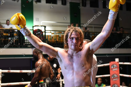 Robbie Chapman (white shorts) defeats Terry Zunke during a Boxing Show at York Hall on 29th June 2019