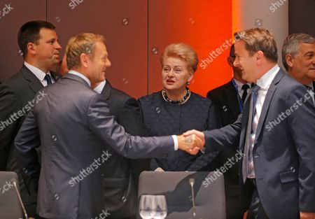 (L-R) Estonian Prime Minister Juri Ratas, European Council President Donald Tusk, Lithuanian President Dalia Grybauskaite, and Luxembourg?s Prime Minister Xavier Bettel 