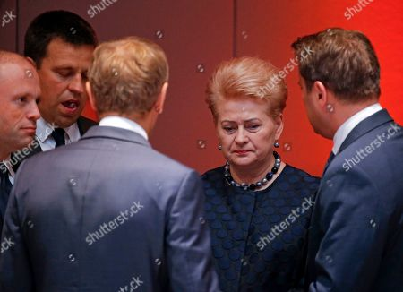 Lithuanian President Dalia Grybauskaite (R) with fellow leaders during the round table of a Special European Council in Brussels, Belgium, 30 June 2019. Heads of states or governments from EU member states meet to continue discussions on the possible candidates for the heads of EU institutions, namely European Council President, President of the European Commission, High Representative of the Union for Foreign Affairs and Security Policy (Foreign Policy Chief), and President of the European Central Bank.
