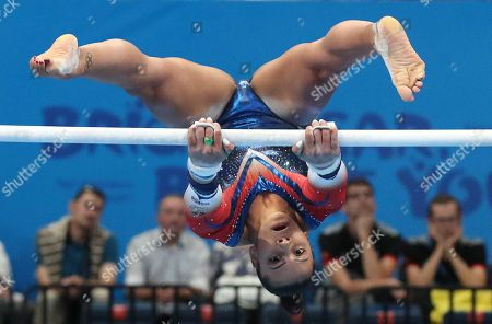Becky Downie of Great Britain in action during the Women's Uneven bars gymnastics final competition at the Minsk 2019 European Games in Minsk, Belarus, 30 June 2019.
