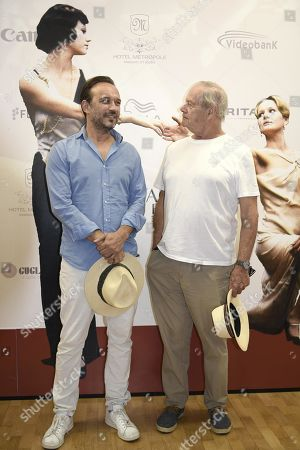 Stock Image of Australian filmmaker and Oscar-winner for his movie 'Driving Miss Daisy' (1989), Bruce Beresford (R) and Swiss actor Vincent Perez (L) pose during a photo call for the movie 'Ladies in Black' during the 65th annual Taormina Film Festival, Taormina Sicily Island, Italy, 30 June 2019. The festival runs from 30 to 06 July.
