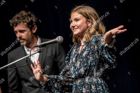 Anna Pniowsky speaks to audience, with US director Casey Affleck in the background, during the presentation of the film 'Light of My Life' at the 54th Karlovy Vary International Film Festival, in Karlovy Vary, Czech Republic, 30 June 2019. The festival runs from 28 June to 06 July.