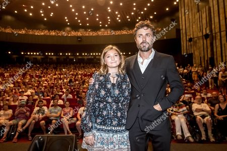 Stock Photo of Casey Affleck and Canadian actress Anna Pniowsky pose for photographers during the presentation of the film 'Light of My Life' at the 54th Karlovy Vary International Film Festival, in Karlovy Vary, Czech Republic, 30 June 2019. The festival runs from 28 June to 06 July.