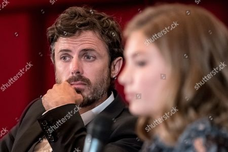 Casey Affleck (L) and Canadian actress Anna Pniowsky attend the KVIFF TALK, the regular meeting with directors, actors and other personalities who present their work, at the 54th Karlovy Vary International Film Festival, in Karlovy Vary, Czech Republic, 30 June 2019. The festival runs from 28 June to 06 July.