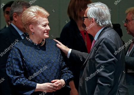 Lithuania's President Dalia Grybauskaite (L) speaks with President of the European Commission Jean-Claude Juncker speak prior the round table of a Special European Council in Brussels, Belgium, 30 June 2019. Heads of states or governments from EU member states meet to continue discussions on the possible candidates for the heads of EU institutions, namely European Council President, President of the European Commission, High Representative of the Union for Foreign Affairs and Security Policy (Foreign Policy Chief), and President of the European Central Bank.