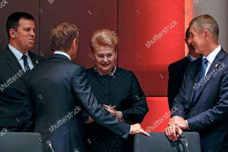 (L-R) Estonia's Prime Minister Juri Ratas, European Council President Donald Tusk, Lithuania's President Dalia Grybauskaite and Czech Republic's Prime Minister Andrej Babis speak prior the round table of a Special European Council in Brussels, Belgium, 30 June 2019. Heads of states or governments from EU member states meet to continue discussions on the possible candidates for the heads of EU institutions, namely European Council President, President of the European Commission, High Representative of the Union for Foreign Affairs and Security Policy (Foreign Policy Chief), and President of the European Central Bank.