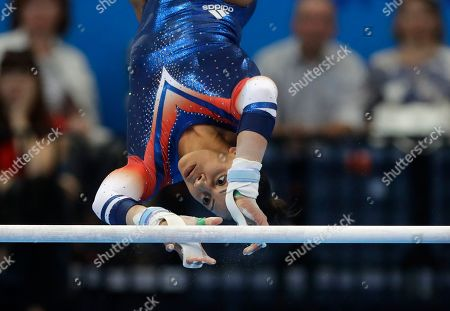 Stock Picture of Becky Downie, of Britain, competes during the Women's Uneven Bars final at the Second European Games in Minsk, Belarus