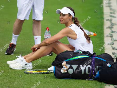 Vitalia Diatchenko (RUS) rests during the Sunday Practice