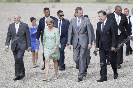 King Felipe VI of Spain (2-R) walks with the president of Panama Juan Carlos Varela (R), Ernesto Boyd (L) of the Panama Viejo Board of Trustees and Julieta de Arango (2-R) executive director of the Patronato Panama Viejo, during a tour of the archaeological site of the Old Panama, with which the King inaugurated the official agenda of his visit to the Central American country, in Panama City, Panama, 30 June 2019. According to reports, King Felipe VI highlighted the transcendence of the history and common legacy of Spain and Latin America in the tribute paid to the City of Panama to mark the fifth centenary of its foundation.
