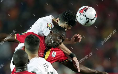 Stock Picture of Egypt's Ayman Ashraf (L) in action against Uganda's Faruku Miya during the 2019 Africa Cup of Nations (AFCON) Group A soccer match between Uganda and Egypt at Cairo Stadium in Cairo, Egypt, 30 June 2019.
