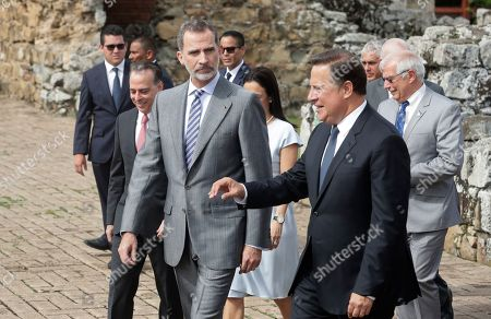 """Stock Photo of Spain's King Felipe, front left, walks with Panama's President Juan Carlos Varela as they tour the historic city center, """"Panama La Vieja,"""" in Panama City, . Spain's King is in Panama to attend the inauguration ceremony for Panama's new President Laurentino Cortizo on Monday"""