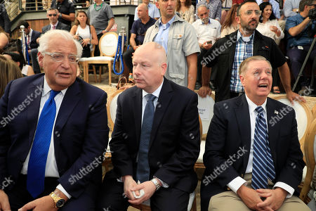 (L-R) US Ambassador to Israel David Friedman, White House Mideast envoy Jason Greenblatt US Senator from South Carolina Lindsey Graham attend the opening of an ancient road at the City of David, a popular archaeological and tourist site in the Palestinian neighborhood of Silwan in east Jerusalem, 30 June 2019. The site is located on what many believe to be the ruins of the biblical King David's ancient capital and see as centerpieces of ancient Jewish civilization, but critics accuses the operators of pushing a nationalistic agenda at the expense of local Palestinian residents.