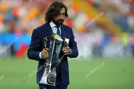 Andrea Pirlo with the trophy before Germany Under-21 vs Spain Under-21, UEFA European Under-21 Championship Final Football at the Dacia Arena on 30th June 2019