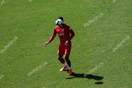 Peru's national soccer team player Aldo Corzo attends a training session with the team at the Pituacu stadium, in Salvador, Brazil, 30 June 2019. Peru will face Chile in the Semi-final match on 03 July.