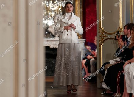 A model presents a creation from the Fall/Winter 2019/20 Haute Couture collection by French designer Christophe Josse during the Paris Fashion Week, in Paris, France, 30 June 2019. The presentation of the Haute Couture collections runs from 30 June to 04 July.