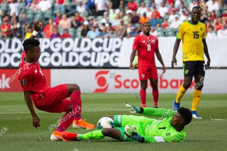 Jamaica goalkeeper Andre Blake (1) makes the save against Panama midfielder Edgar Barcenas (10) during the CONCACAF Gold Cup quarterfinal match between Jamaica and Panama at Lincoln Financial Field in Philadelphia, Pennsylvania