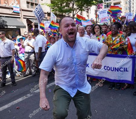 New York City Council Speaker Corey Johnson dances in the 50th annual New York City Gay Pride Parade, which is also celebrating WorldPride, in New York, New York, USA, 30 June 2019. Johnson is the first gay man and HIV positive council leader. This is first time that WorldPride has been held in the United States and this year is also the 50th anniversary of the uprising at the Stonewall Inn, marking the start of the modern LGBT civil rights movement in the United States.