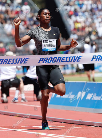 Caster Semenya of South Africa crosses the finish to win the Women 800m during the Athletics IAAF Diamond League  - Prefontaine Classic at Stanford, California, USA, 30 June 2019.