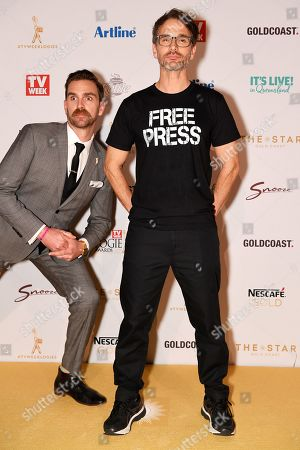 Stock Image of Harley Breen (left) and Todd Sampson arrive at the 2019 Logie Awards at The Star Casino on the Gold Coast, Australia, 30 June 2019. ( )