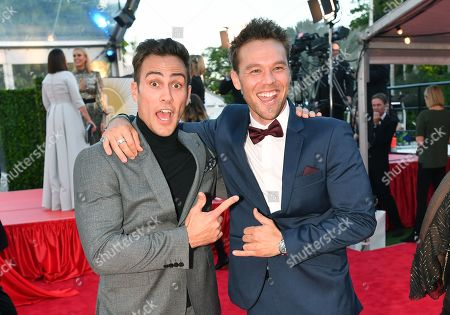 Actor's Matt Wilson (left) and Lincoln Lewis (right) are seen on the red carpet at the 2019 Logie Awards at The Star Casino on the Gold Coast, Australia, 30 June 2019. ( )