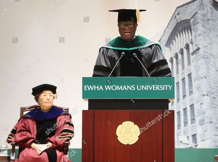 Denis Mukwege, co-winner of the 2018 Nobel Peace Prize, speaks after receiving an honorary MD degree during a ceremony at Ewha Womans University in Seoul, South Korea, 01 July 2019.