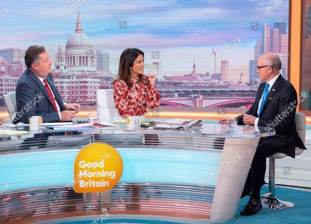 "Piers Morgan and Susanna Reid with Robert Wood ""Woody"" Johnson IV"