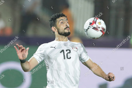 Egypt's Ayman Ashraf controls the ball during the African Cup of Nations group A soccer match between Egypt and Uganda in Cairo International Stadium in Cairo, Egypt