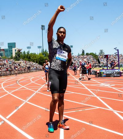 Stanford, CA : Caster Semenya wave to the fans before the women's 800 Meters race during the Nike Prefontaine Classic at Stanford University Palo Alto, CA. Thurman James / CSM