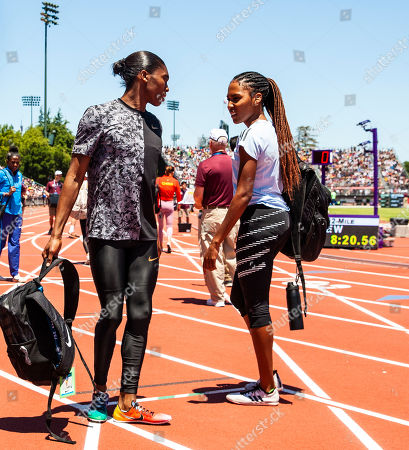 Stanford, CA : Caster Semenya and Ajee Wilson chat before the women's 800 Meters race during the Nike Prefontaine Classic at Stanford University Palo Alto, CA. Thurman James / CSM