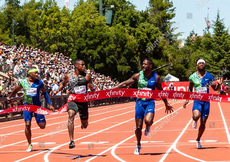 Stanford, CA : Christian Coleman wins the Men's 100 meter with a time of 9.81, Justin Gatlin takes 2nd with 9.87, Cravon Gillespie third place time of 10.05 and Michael Rogers 4th place time of 10.08 during the Nike Prefontaine Classic at Stanford University Palo Alto, CA. Thurman James / CSM