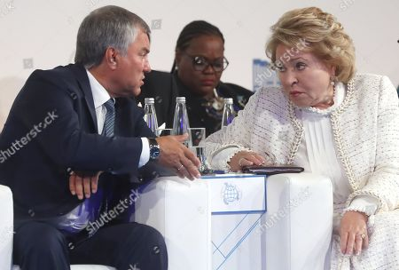 Russian State Duma Speaker Vyacheslav Volodin (L) and Russian Federation Council Chairperson Valentina Matviyenko (R) attend first plenary session at the second International Forum 'Development of Parliamentarism', in Moscow, Russia, 01 July 2019. The forum will be held in Moscow from 01 to 03 July.