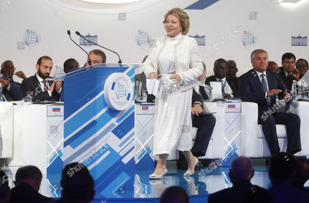 Russian Federation Council Chairperson Valentina Matviyenko (C) attends the first plenary session of the second International Forum 'Development of Parliamentarism', in Moscow, Russia, 01 July 2019. The forum will be held in Moscow from 01 to 03 July.