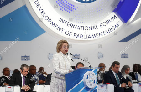 Russian Federation Council Chairperson Valentina Matviyenko (C) speaks during the first plenary session of the second International Forum 'Development of Parliamentarism', in Moscow, Russia, 01 July 2019. The forum will be held in Moscow from 01 to 03 July.