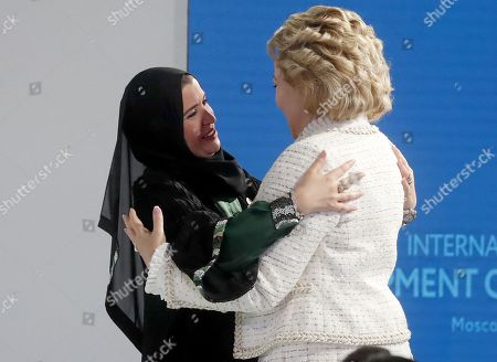 Russian Federation Council Chairperson Valentina Matviyenko (R) and Speaker of the Federal National Council of the United Arab Emirates (UAE) Amal Al Qubaisi (L) attend the first plenary session at the second International Forum 'Development of Parliamentarism', in Moscow, Russia, 01 July 2019. The forum will be held in Moscow from 01 to 03 July.