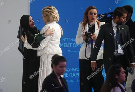 Russian Federation Council Chairperson Valentina Matviyenko (2-L) and Speaker of the Federal National Council of the United Arab Emirates (UAE) Amal Al Qubaisi (L) attend the first plenary session at the second International Forum 'Development of Parliamentarism', in Moscow, Russia, 01 July 2019. The forum will be held in Moscow from 01 to 03 July.
