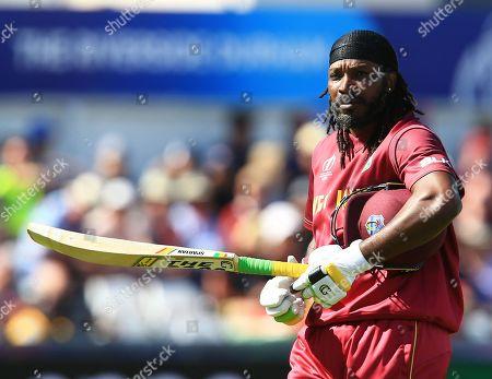 Chris Gayle of West Indies after losing his wicket