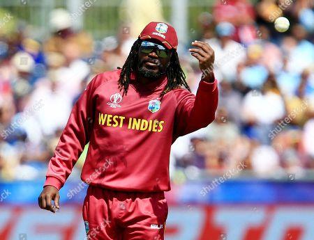 Chris Gayle of West Indies fielding