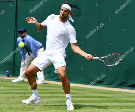 Ruben Bemelmans of Belgium in action against Stan Wawrinka of Switzerland during their first round match at the Wimbledon Championships at the All England Lawn Tennis Club, in London, Britain, 01 July 2019.