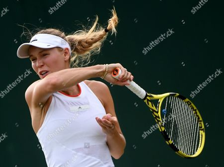 Caroline Wozniacki of Denmark in action against Sara Sorribes Tormo of Spain during their first round match at the Wimbledon Championships at the All England Lawn Tennis Club, in London, Britain, 01 July 2019.