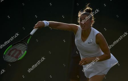 Sara Sorribes Tormo of Spain in action against Caroline Wozniacki of Denmark during their first round match at the Wimbledon Championships at the All England Lawn Tennis Club, in London, Britain, 01 July 2019.