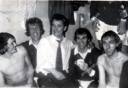 Brian Clough (died September 2004) With His Goal Scoring College Neil Martin On His Left. Goal Scorer Neil Martin Gets A Hug From His New Manager And The Congratulations Of His Team Mates. In The Spurs Dressing Room It Was A Different Story: 'i Feel Sick' Said Manager Terry Neill.