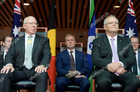 Governor General David Hurley AC DSC (L), House of Representatives Speaker Tony Smith and the Prime Minister of Australia Scott Morrison (R) at a reception in the Members Hall after being sworn in as the Governor General at Parliament House in Canberra, Australian Capital Territory, Australia, 01 July 2019. David Hurley, former New South Wales governor and former defense force chief is replacing outgoing Governor General Peter Cosgrove.