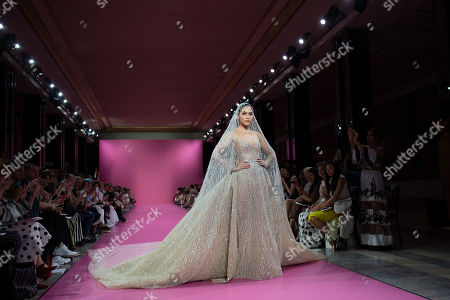 Thai actress Araya A. Hargate aka Chompoo presents a creation from the Fall/Winter 2019/2020 Haute Couture collection by Lebanese designer Georges Hobeika during the Paris Fashion Week, in Paris, France, 01 July 2019. The presentation of the Haute Couture collections runs from 30 June to 04 July 2019.