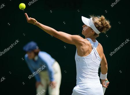 Viktorija Golubic of Switzerland in action during the first round