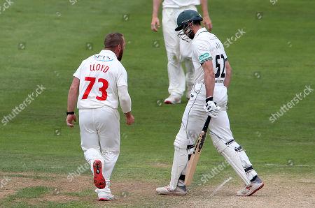 David Lloyd of Glamorgan celebrates after Joshua Dell is caught by Tom Cullen